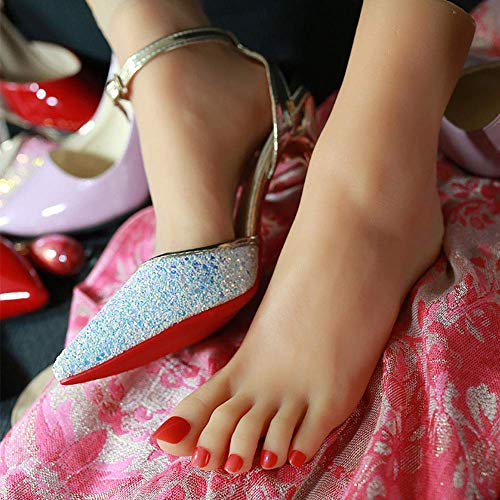 Dekorative Silikon Weibliche Füße Simulation Display Modell Leistung Requisiten Menschliche Füße Schuhe Socken Fußkettchen Fußform, Rechts