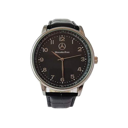 Mercedes Benz - Reloj deportivo redondo de cuarzo, pulsera negra, batería de repuesto gratuita
