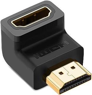 يوجرين -محول وصلة HDMI ذكر الى انثي السرعة العالية في 90 درجة الزاوية اليمنى متوافق مع تي في ستيك - اسود 2 حزمة