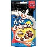 FELIX Crispies Katzensnack, Knusper-Leckerlie mit Rind- und Huhngeschmack 8er Pack (8 x 45g)
