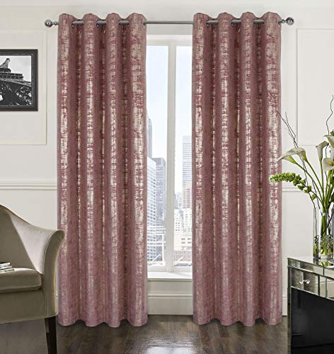 Alexandra Cole Wild Rose Soft Velvet Curtains 95 Inch Length Luxury Bedroom Curtains Gold Foil Print Window Curtains for Living Room Set of 2