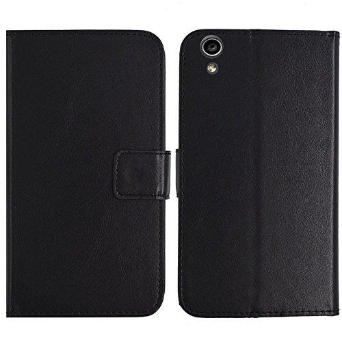 TienJueShi Schwarz Flip Book-Style Brief Leder Tasche Schutz Hulle Handy Hülle Abdeckung Fall Wallet Cover Etui Skin Fur MEDION Life S5504 MD 99905 5.5 inch