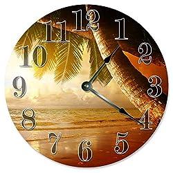 Sugar Vine Art Palm Trees Clock Large 10.5 Wall Clock Decorative Round Wall Clock Home Decor Novelty Clock Beach Sunset Sunrise