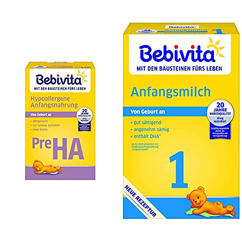 Bebivita PRE Hypoallergene Anfangsmilch, 4er Pack (4 x 500 g) & Milchnahrung 1 Anfangsmilch, 4er Pack (4 x 500 g) 1116-03