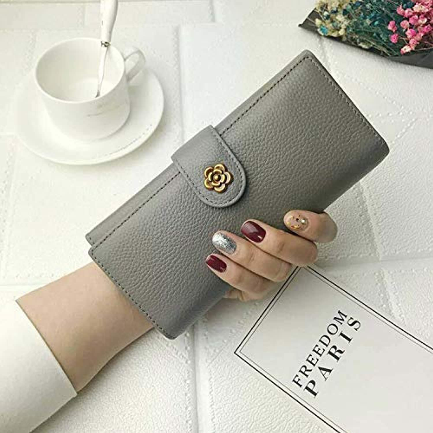 Europe and The United States Retro Long Wallet Female Leather Wild Change Clutch Bag Wallet (color   Wine red) Ladies Purses (color   Grey)