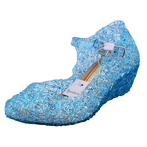 Tyidalin Niña Bailarina Zapatos de Tacón Disfraz de Princesa Zapatilla de Ballet Para 3 a 12 Años Azul EU28-33 (EU 23(Talla del Fabricante 25))