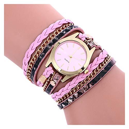 XJS Reloj de Moda Cuarzo de Las señoras del Reloj de Estilo Bohemio Moda Tejida Mano de Cuero Pulsera Multicolor de Cuarzo Reloj de Regalo para Mujeres (Color : Pink)