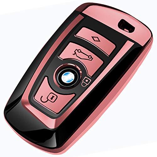 COVELL für BMW Autoschlüssel Hülle, Prämie Weiches TPU Schutzhülle Schlüsselhülle Cover für BMW1 3 4 5 6 7 Serie and X3 X4 M5 M6 GT3 GT5 Smart Remote (nur Keyless), Rotgold