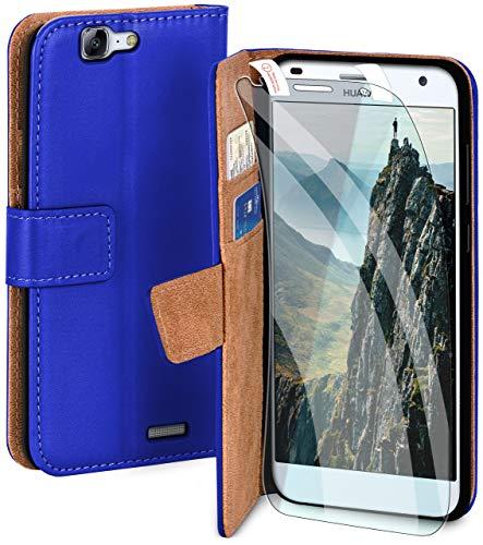 moex Handyhülle für Huawei Ascend G7 - Hülle mit Kartenfach, Geldfach & Ständer, Klapphülle, PU Leder Book Hülle & Schutzfolie - Blau