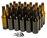 North Mountain Supply 12 Ounce Long-Neck Amber Beer Bottles - Case of 24 - Includes Crown Caps