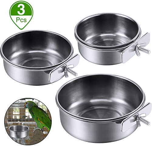 3 Pieces Bird Feeding Dish Cups Stainless Steel Parrot Feeding Cups Animal Cage Water Food Bowl Bird Cage Cups Holder with Clamp Holder for Bird Parrot Water Food Dish Feeder (S, M, L)