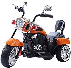 DTI Direct Freddo Chopper Style Electric Ride ON Motorcycle for Kids - 6V Battery Powered 3 Wheel Ride ON Toy for Boys, Girls, and Toddlers - Orange