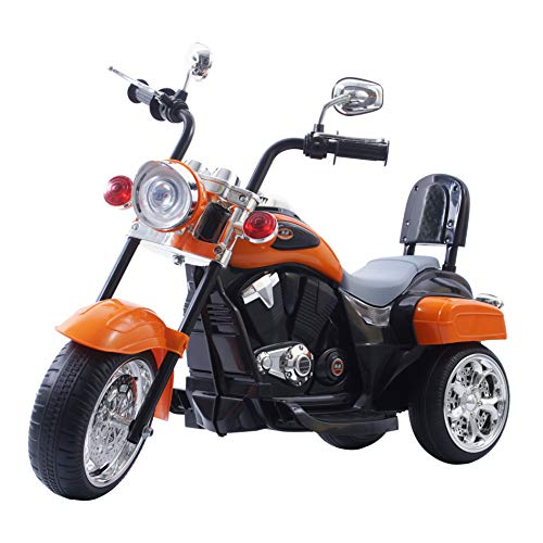 DTIDIRECT Freddo Chopper Style Electric Ride On Motorcycle for Kids - 6V Battery Powered 3 Wheel Ride On Toy for Boys, Girls, and Toddlers - Orange