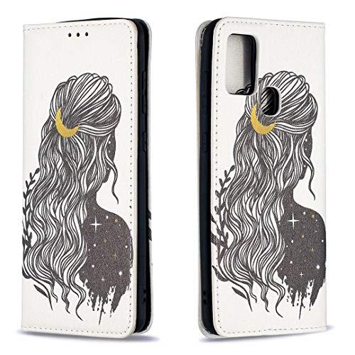 Miagon Brieftasche Hülle für Samsung Galaxy A21S,Kreativ Gemalt Handytasche Case PU Leder Geldbörse mit Kartenfach Wallet Cover Klapphülle,Mädchen