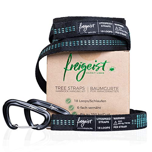 Freigeist attachment set for hammocks, everything including tree straps (up to 350 kg) with 18 loops, including carabiner, unpack and get started