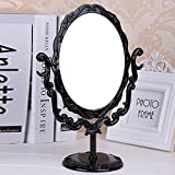 PEIWENIN-Espejo de maquillaje de escritorio espejo de maquillaje retro espejo de belleza, negro