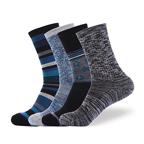 EnerWear 4 Pack Women's Merino Wool Outdoor Hiking Trail Crew Sock (US Shoe Size 4-10, Black/Blue/Multi)