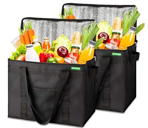 COTTARA Neu Premium Kühltasche faltbar 2er Pack – Einkaufstasche groß mit verstärktem faltbarem Boden – Ideal als Isoliertasche, Einkaufskorb, Picknicktasche (Schwarz, 40 x 24 x 31 cm)