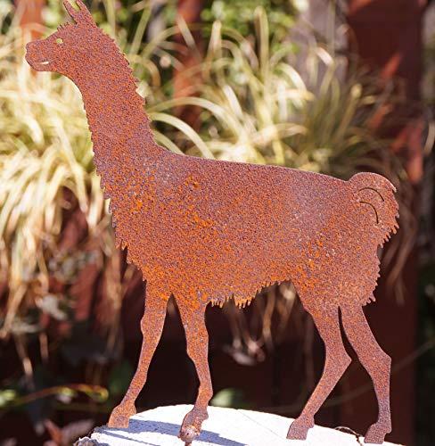 Unbekannt Edelrost Alpaka mit Schraube 17x16cm für Holz Garten Deko Rost Tierfigur