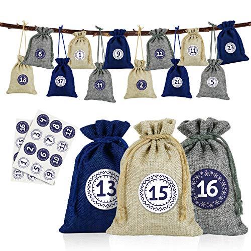 Naler 24 x Jutesäckchen Adventskalender Stoffbeutel mit Zahlensticker Jute Beutel Natur Säckchen Geschenksäckchen für Weihnachten - Blau/Natur/Grau