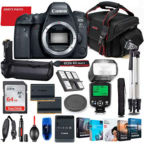 Canon EOS 6D Mark II DSLR Camera Body Only Bundle + Battery Grip + Premium Accessory Bundle Including 64GB Memory, Extra Battery, Filters, Photo/Video Software Package, Shoulder Bag & More