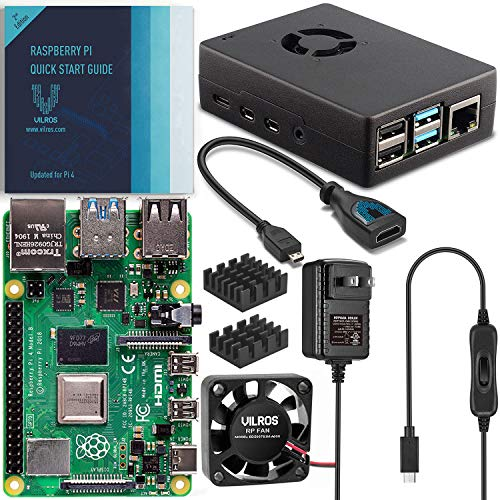 Vilros Raspberry Pi 4 8GB Basic Starter Kit with Fan Cooled Heavy Duty Aluminum Alloy Case (Black Case)