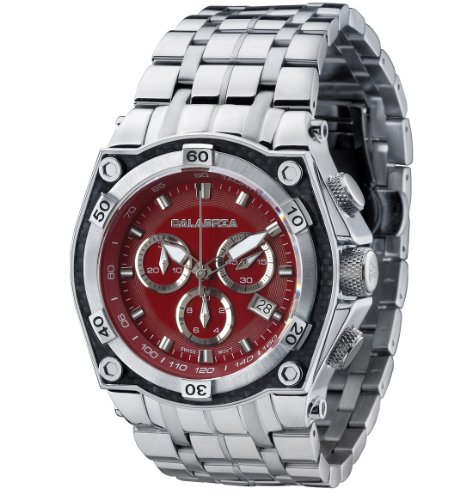 CALABRIA - Fuoco - Red Chronograph Men's Watch with Carbon Fiber Bezel and Stainless Steel Band