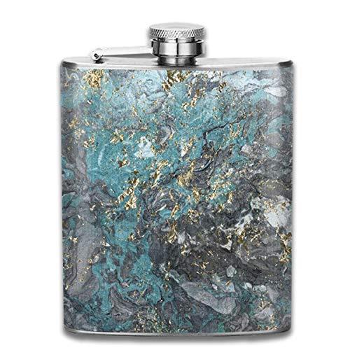 Presock-Flaschen für Liköre, vergoldeter Gletscher-Marmor 7 Unzen Edelstahl-Flachmann mit Aufdruck zum Trinken von Liköre, z. Whiskey, Rum, Scotch, Wodka