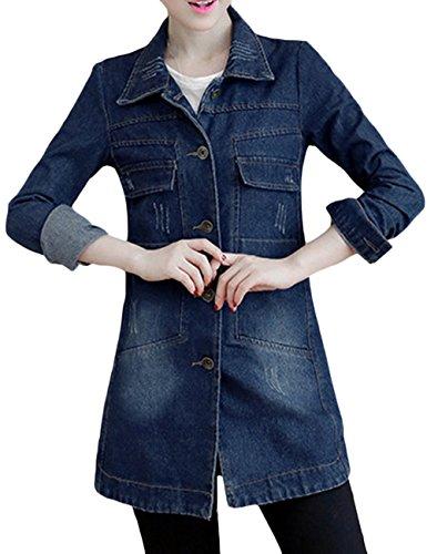 sandbank Chaqueta de algodón para mujer, ajuste delgado, ligera, de mezclilla