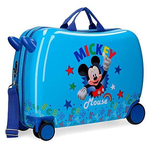 Disney Mickey Stars Maleta Infantil Azul 50x38x20 cms Rígida ABS Cierre combinación 34L 2,1Kgs 4 Ruedas Equipaje de Mano