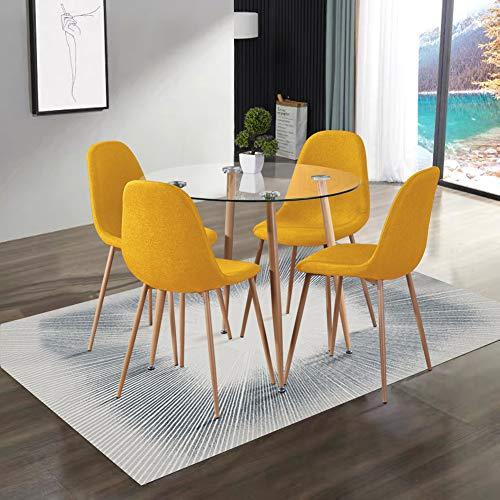 GOLDFAN Esstisch mit 4 Stuhl Glastisch und Gelb Stoff Stuhl Runder Tisch Glas Wohnzimmertisch für Küche Esszimmer Büro usw