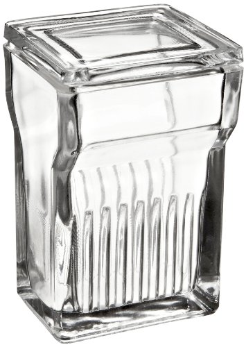 Wheaton 900620 Glass Rectangular 250mL Coplin Staining Jar, with Lid (Case of 6)