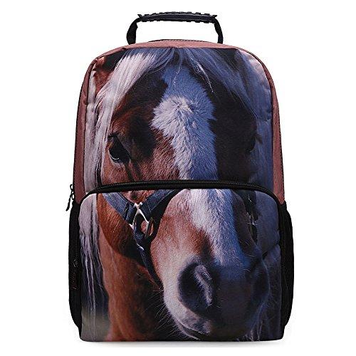 Yimidear Zaino 3D Animals Stampa Daypack Per Scuola Camping Viaggi Escursionismo (Cavallo)