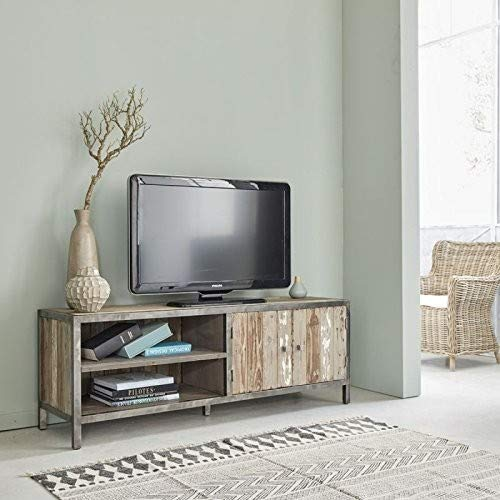 Meuble TV en Bois de pin recyclé et métal 2 Portes