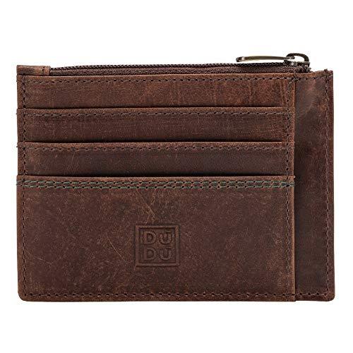 DUDU Porta carte di credito Portamonete Uomo in Pelle Vintage invecchiato Portafoglio Slim con Cerniera Zip Marrone scuro