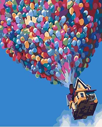 Mehrfarbige Luftballons DIY Digitales Ölgemälde mit Zahlen Malvorlagen Handgemalte Leinwand Malerei Wohnkultur-40x50cm (mit Rahmen)