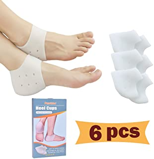 Heel Cups, Plantar Fasciitis Inserts, Gel Heel Pads Cushion *New Material* (3 Pairs) Great for Heel Pain, Heal Dry Cracked...
