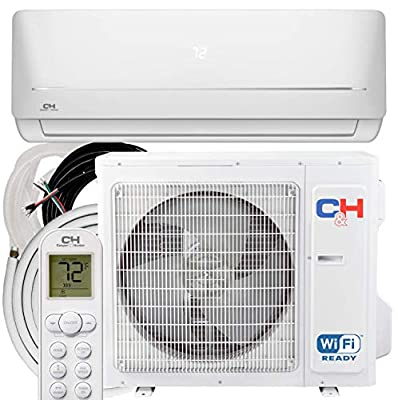 COOPER AND HUNTER 24000 BTU Ductless Mini Split AC/Heating System WiFi 2 Ton Pre-Charged Inverter Heat Pump with 16ft Installation Kit