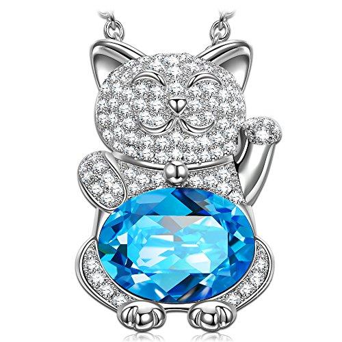 Kami Idea Regalos Dia de la Madre Collares Mujer Joven Gato Sonriente Tous Mujer Joyeria Corazón Chispeante Azul Swarovski Cristal Aguamarina Regalos para Mujer Regalo para Mama