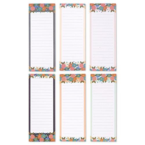 Set de 6magnético blocs de notas–Blocs de notas para listas de la compra para nevera magnética Memo Pads, diseño floral, a hacer, listas de tareas domésticas, 3diseños–3,5x 9pulgadas