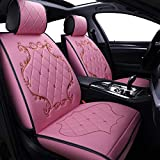 Skysep Crown Car Seat Covers, Fully Surrounded Queen Seat,Winter Leather Seats Car,PU Leather and 3D Breathable Fabric (Pink)