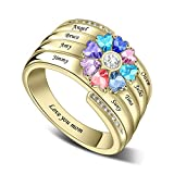 Personalized Mothers Rings with 3-8 Name&Simulated Birthstones Family Ring for Mother Grandmother Anniversary Rings for Women Mother Day Gift (Style 7)
