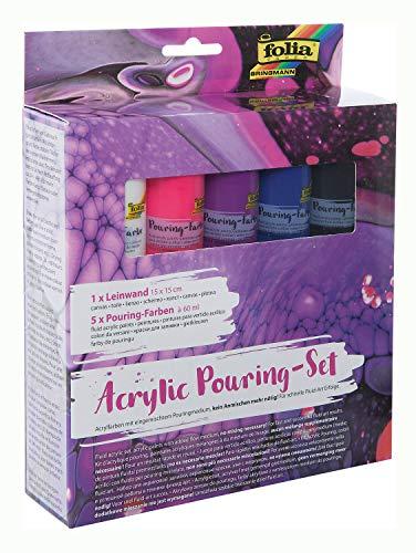 Folia 351119 – Juego de pintura acrílica intensiva, con 5 colores de 60 ml y 1 lienzo de aprox. 15 x 15 cm, pinturas acrílicas con base mezclada.