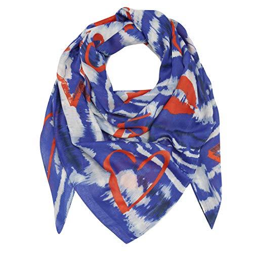 CODELLO Damen XL 135 x 135 cm Halstuch | XXL Tuch | Schultertuch im Batik Design | aus 100% recyceltem Polyester, Navy Blue, Einheitsgröße
