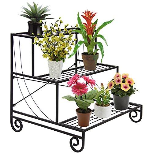 Best Choice Products 3-Tier Metal Raised Ladder Plant Stand, Decorative Planter Holder Flower Pot Shelf Rack - Black
