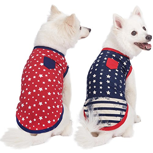 Blueberry Pet Pack of 2 Soft & Comfy Patriotic Spirit USA Stars Stripes American Flag Cotton Blend Dog T Shirts, Back Length 10', Clothes for Dogs
