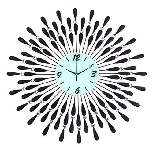 Stella Fella Reloj de Pared de diseño Moderno de Hierro Forjado con Diamantes de imitación, Reloj de Sala de Estar 3D, sin tictac, Negro