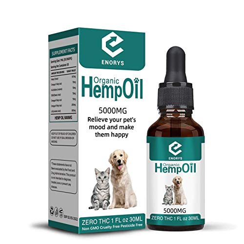 Enorys Organic Hemp Oil for Pets – 5000mg Hemp Oil for Dogs and Cats – 1Fl Oz All-Natural Hemp Seed Oil – Helps with Anxiety and Stress Relief – Healthy Joints and Coat – Rich in Nutrients