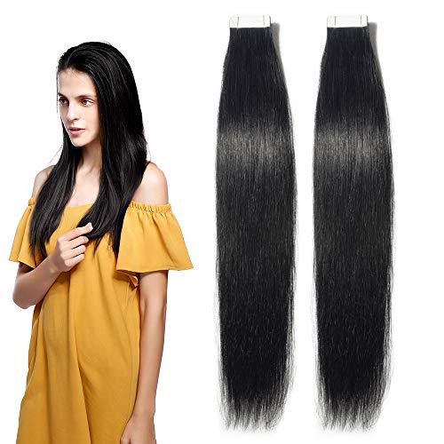 Extension Capelli Veri Biadesivo Adesive 40 Fasce 80g da Set 30cm #1 Jet Nero Remy Human Hair Estensioni Lisci Umani Invisibile