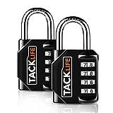 Lucchetto a combinazione, TACKLIFE HCL1B, Serratura a combinazione a 4 posizioni per impieghi gravosi, serrature per bagagli per uso quotidiano interno ed esterno (2 pezzi)